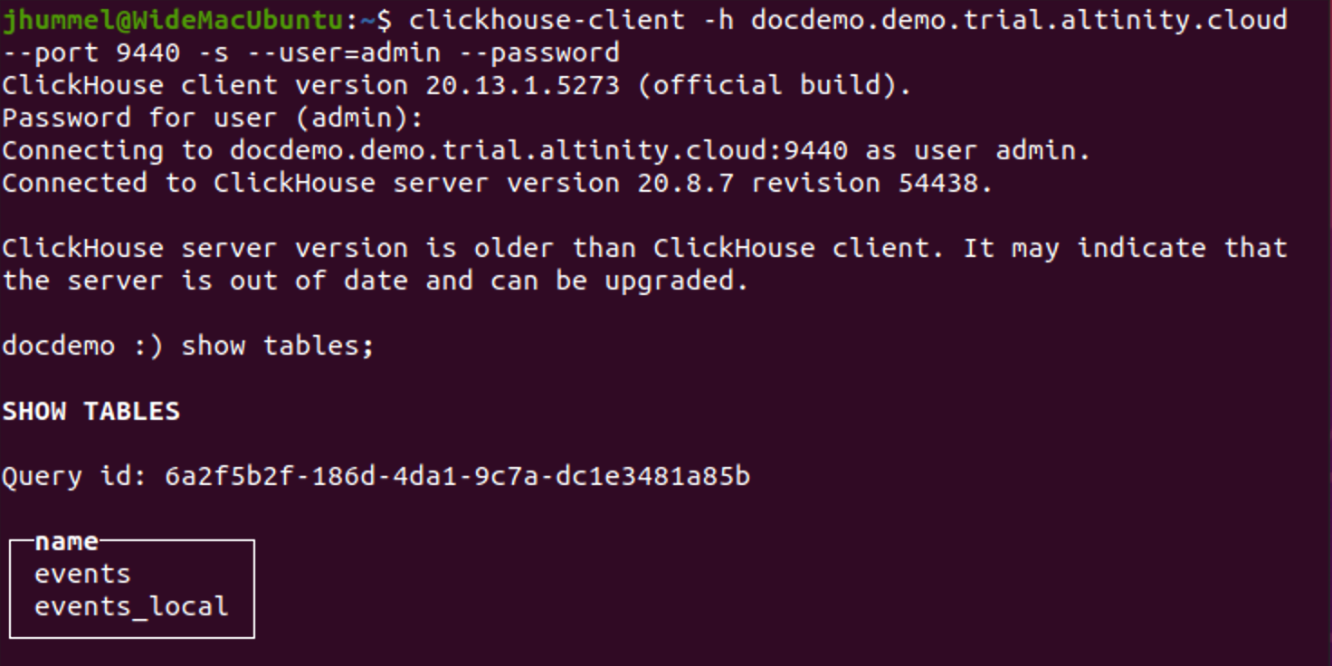 clickhouse-client to Altinity.Cloud demo