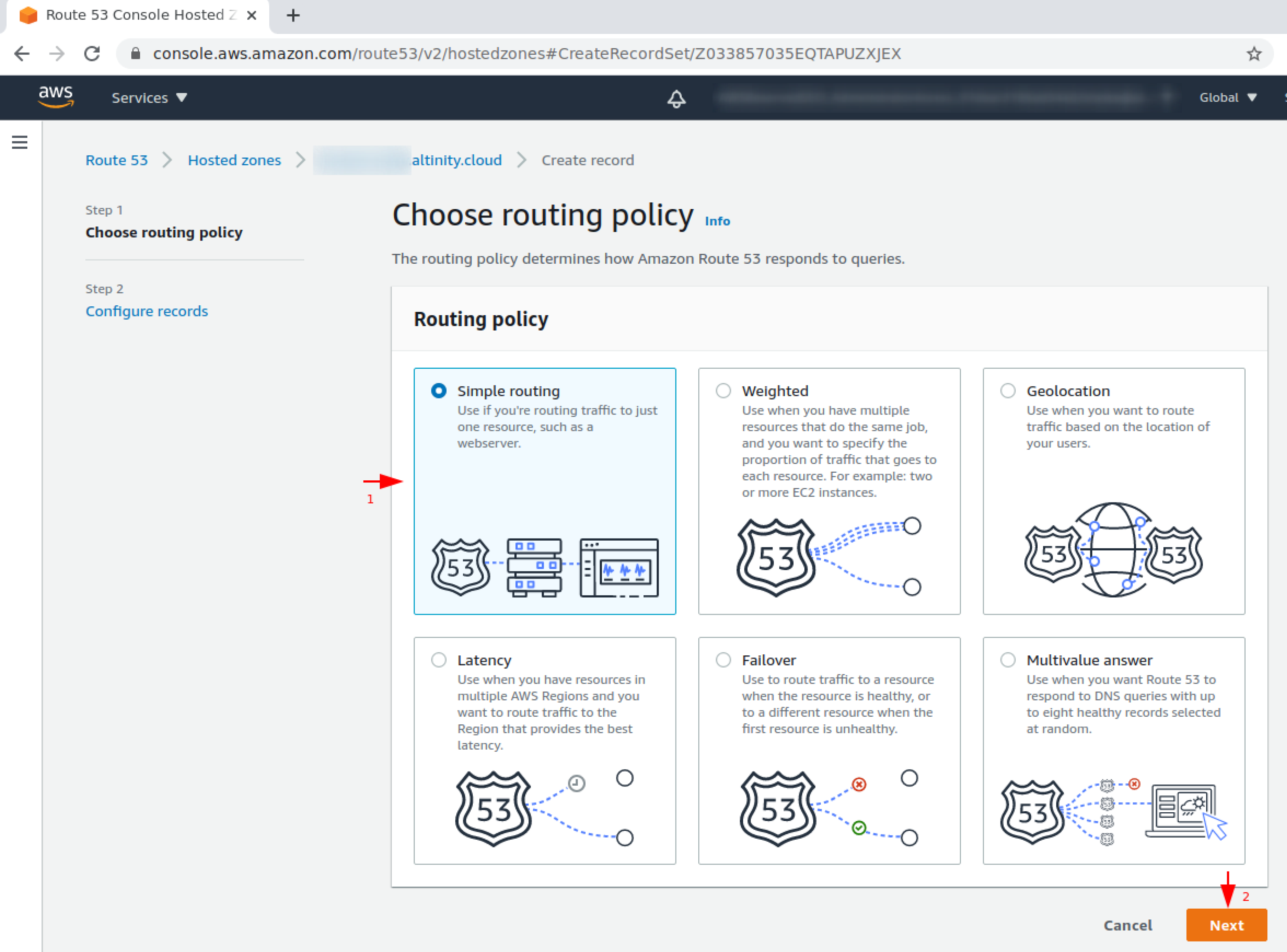 Choose routing policy