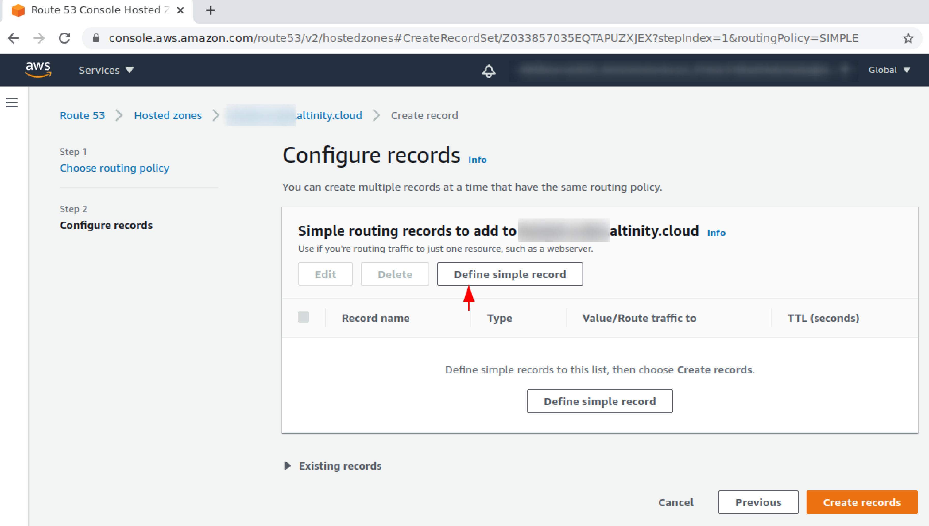 Select Define simple record